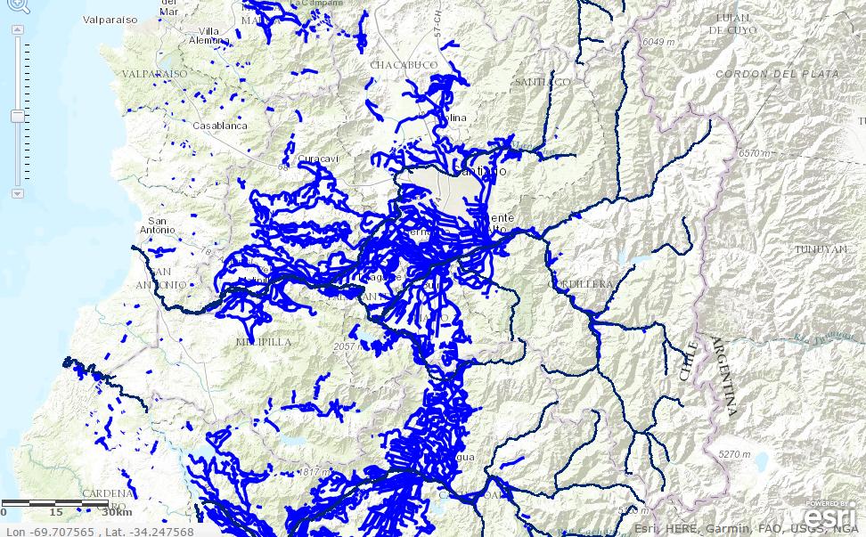 geoportal chile, red hidrografica y canales de regadio