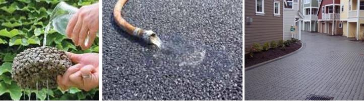 Opciones de materiales permeables. Concreto poroso (izquierda), asfalto permeable (medio), adoquines (derecha). Crédito de la foto: EPA